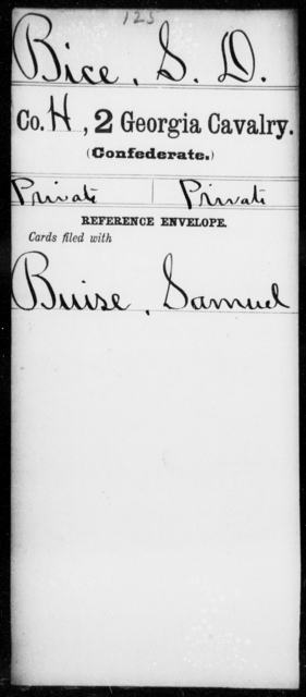 Bice, S D - 1st Gordon Squadron, Cavalry (State Guards), 2d Georgia Cavalry AND 2d Georgia Cavalry