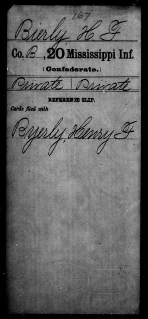 Bierly, H F - Age: [Blank], Year: [BLANK] - Mississippi Twentieth Infantry, A-B