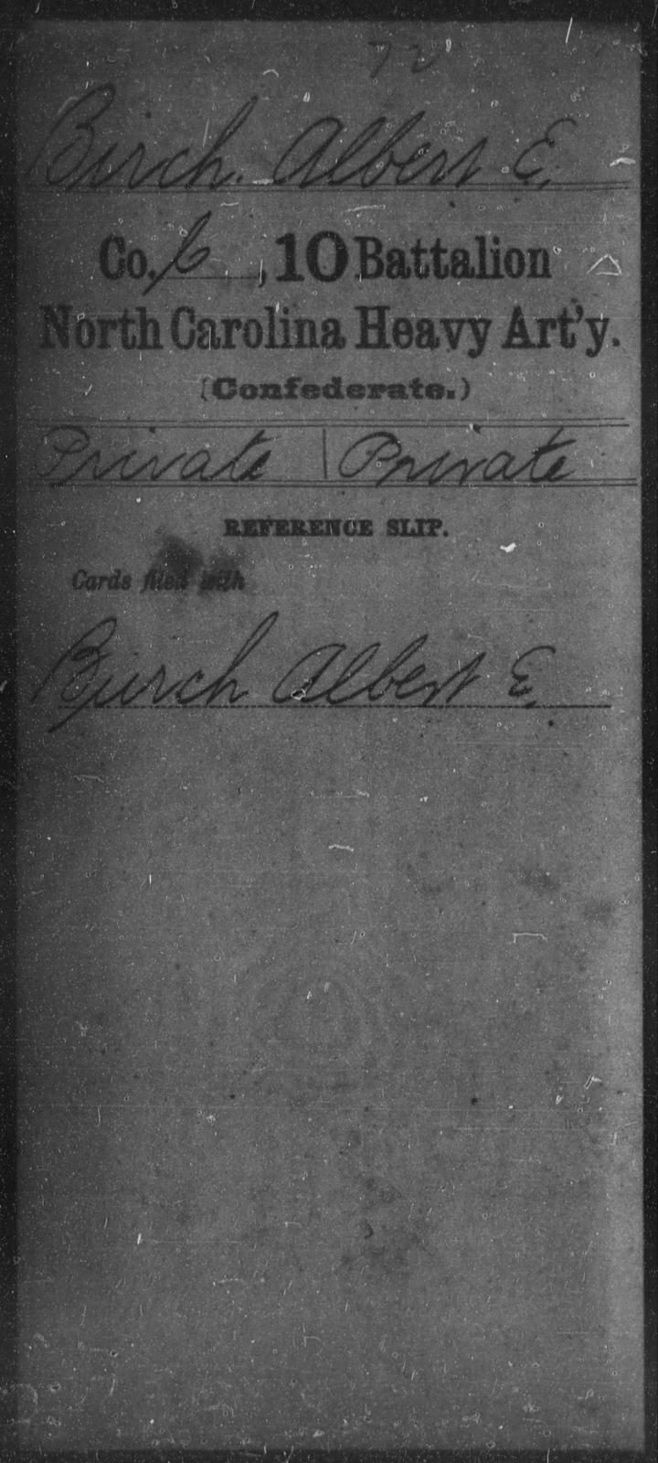 Birch, Albert E - Tenth Battalion, Heavy Artillery