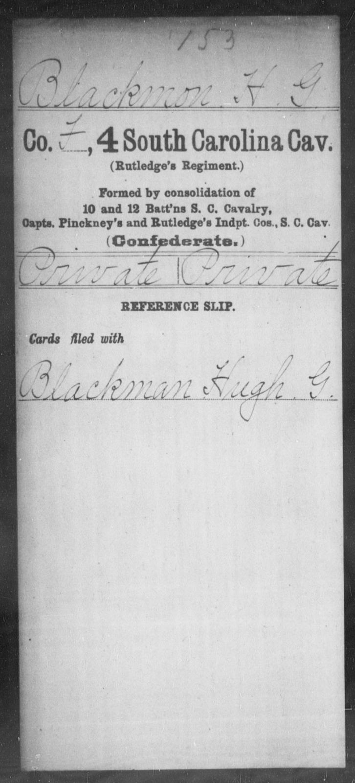 Blackmon, H G - Age: [Blank], Year: [BLANK] - South Carolina Fourth Cavalry A-B