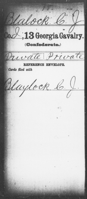 Blalock, C J - 12th (Wright's) Cavalry (State Guards) AND 13th Cavalry