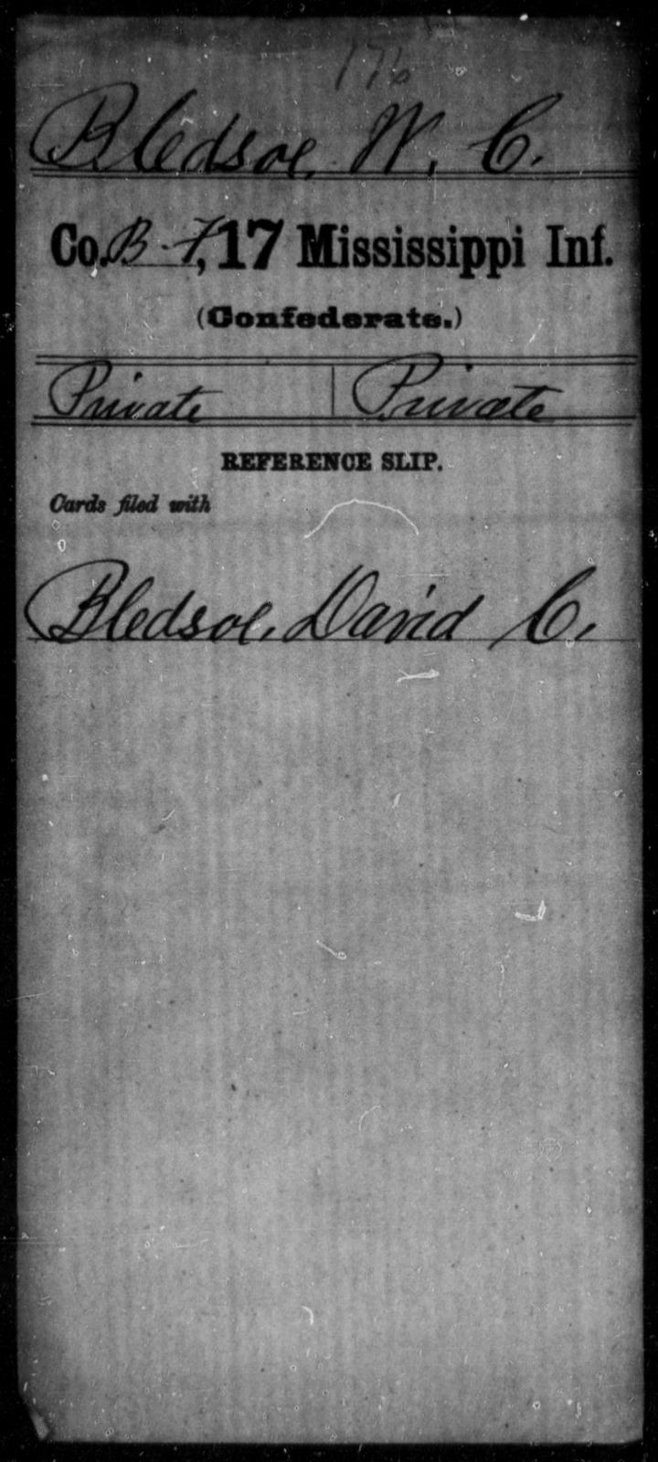 Bledsoe, W C - Age: [Blank], Year: [BLANK] - Mississippi Seventeenth Infantry, A-B1