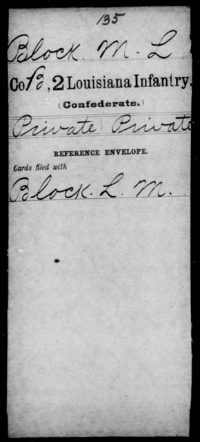 Block, M L - Age [Blank], Year: [Blank] - Second Infantry, A - Bo - Louisiana