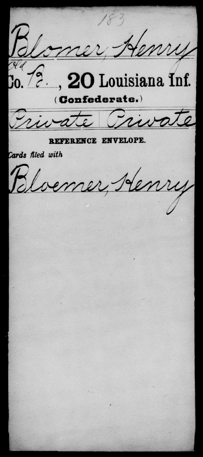 Blomer, Herny - Age [Blank], Year: [Blank] - Twentieth Infantry, A - B - Louisiana
