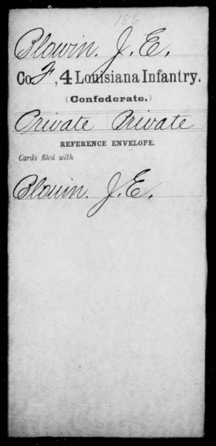 Blowin, J E - Age [Blank], Year: [Blank] - Third Regiment, First Brigade, First Division, Militia, - Louisiana