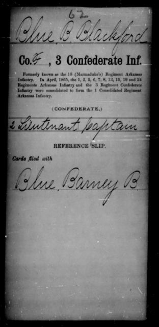 Blue, Blackford B - Age [Blank], Year: [Blank] - Second Confederate Infantry AND Third Confederate Infantry, A-D - Raised Directly by the Confederate Government
