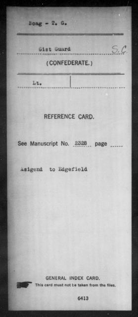 Boag, T G - Age: [Blank], Year: [BLANK] - South Carolina Manigault's Battalion, Artillery A-C