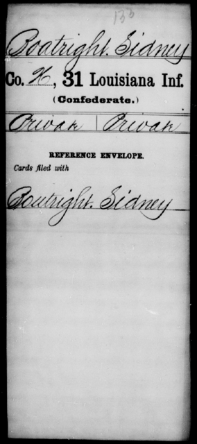 Boatright, Sidney - Age [Blank], Year: [Blank] - Thirty-first Infantry, A - Co - Louisiana