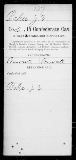Bobie, J V - Age [Blank], Year: [Blank] - Fifteenth Confederate Cavalry (1st Regiment, Alabama and Florida Cavalry), A-C - Raised Directly by the Confederate Government