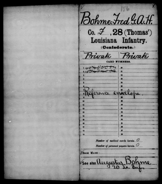 Bohme, Fred G A H - Age [Blank], Year: [Blank] - Twenty-eighth (Gray's) Infantry, W - Z AND Twenty-eighth (Thomas') Infantry, A - B - Louisiana
