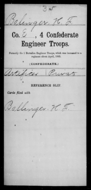 Bolinger, H F - Age [Blank], Year: [Blank] - Fourth Confederate Engineer Troops, A-R - Raised Directly by the Confederate Government