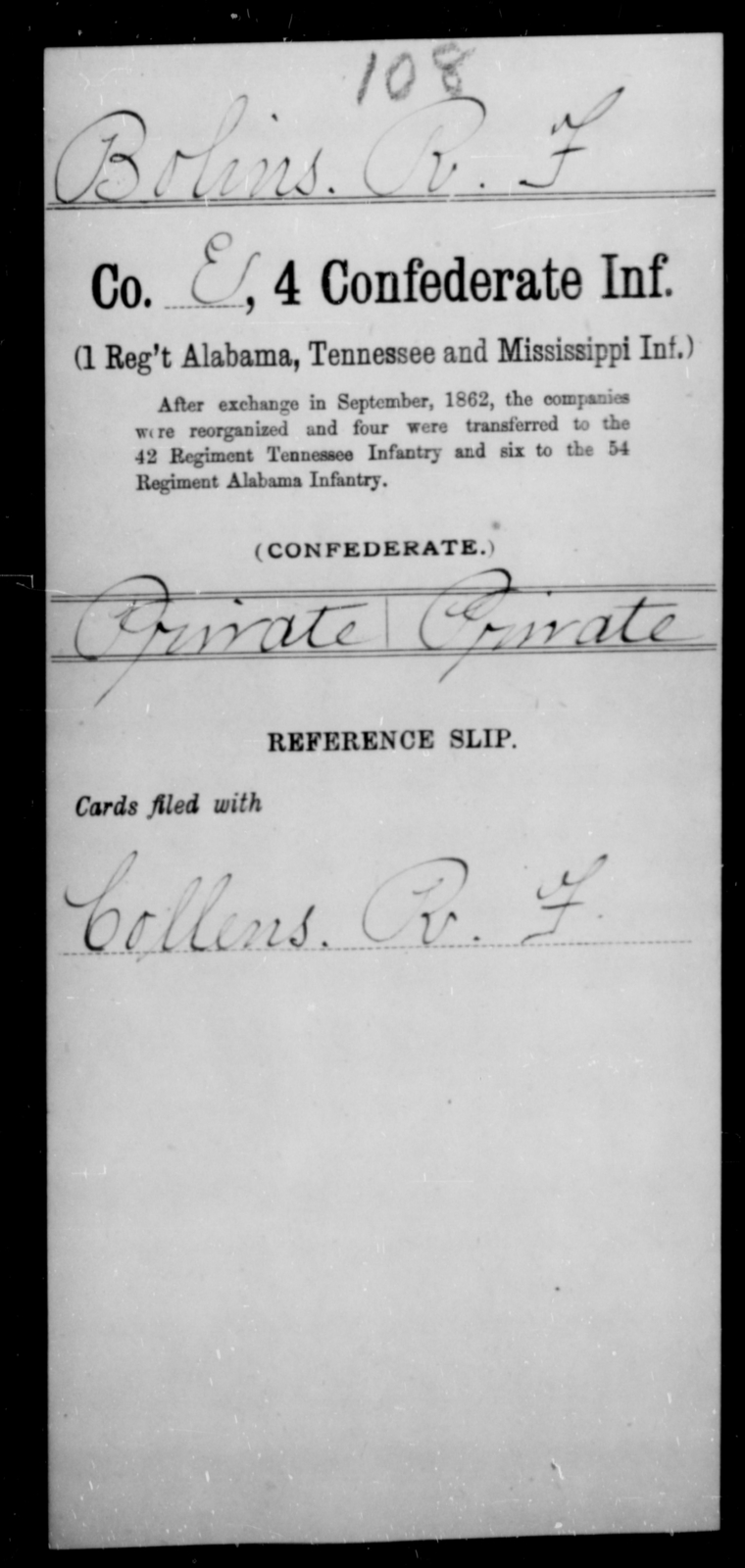 Bolins, R F - Age [Blank], Year: [Blank] - Fourth Confederate Infantry, A-F - Raised Directly by the Confederate Government