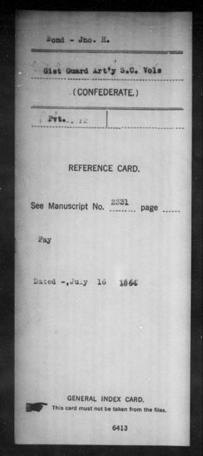 Bond, Jno H - Age: [Blank], Year: [BLANK] - South Carolina Manigault's Battalion, Artillery A-C