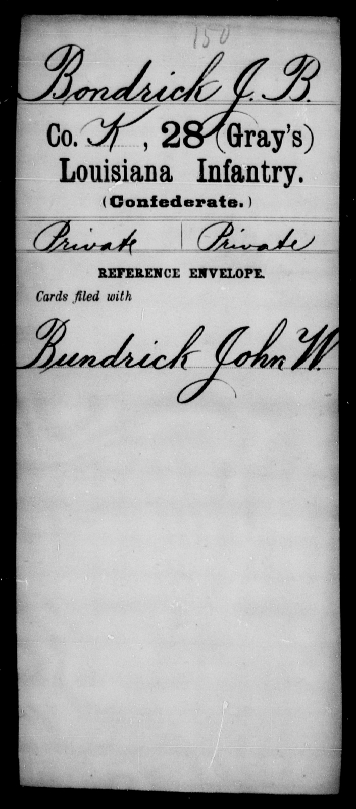Bondrick, J B - Age [Blank], Year: [Blank] - Twenty-eighth (Gray's) Infantry, A - Cl - Louisiana