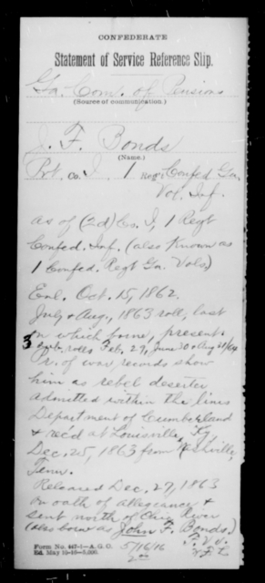 Bonds, J F - Age [Blank], Year: [Blank] - First Confederate Infantry, A-B - Raised Directly by the Confederate Government