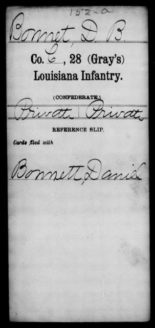 Bonnet, D B - Age [Blank], Year: [Blank] - Twenty-eighth (Gray's) Infantry, A - Cl - Louisiana