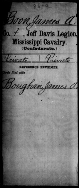 Boon, James A - Age: [Blank], Year: [BLANK] - Mississippi Jeff Davis Legion, Cavalry, A-C1