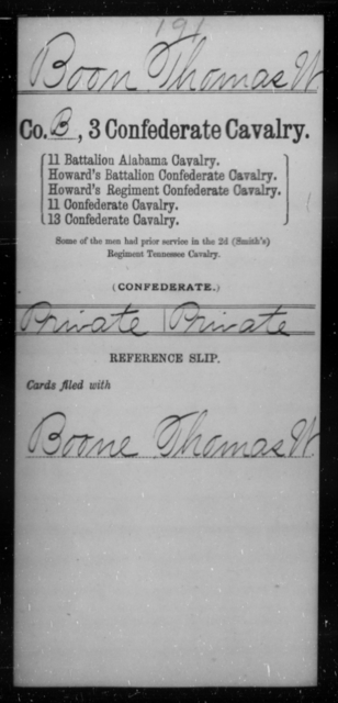 Boon, Thomas W - Age [Blank], Year: [Blank] - Third Confederate Cavalry, A-C - Raised Directly by the Confederate Government