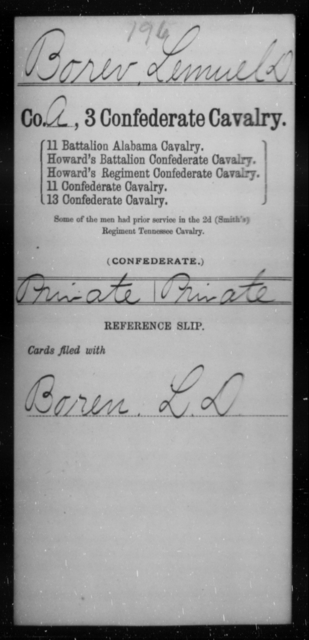 Borer, Lemuel D - Age [Blank], Year: [Blank] - Third Confederate Cavalry, A-C - Raised Directly by the Confederate Government