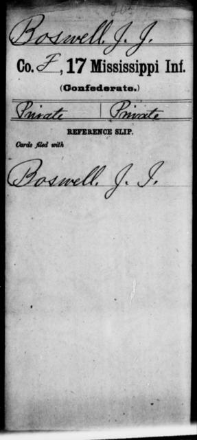 Boswell, J J - Age: [Blank], Year: [BLANK] - Mississippi Seventeenth Infantry, Bo-Ch