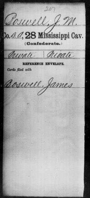 Boswell, J M - Age: [Blank], Year: [BLANK] - Mississippi Twenty-eighth Cavalry, A-B