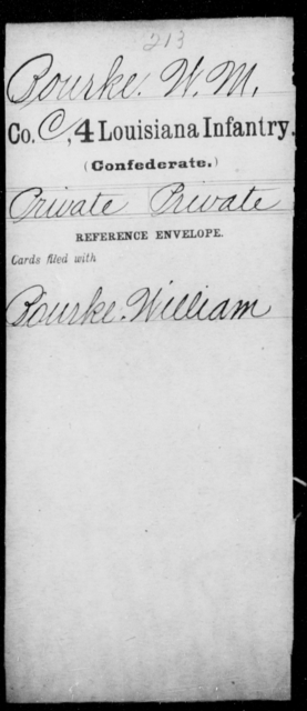 Bourke, W M - Age [Blank], Year: [Blank] - Third Regiment, First Brigade, First Division, Militia, - Louisiana