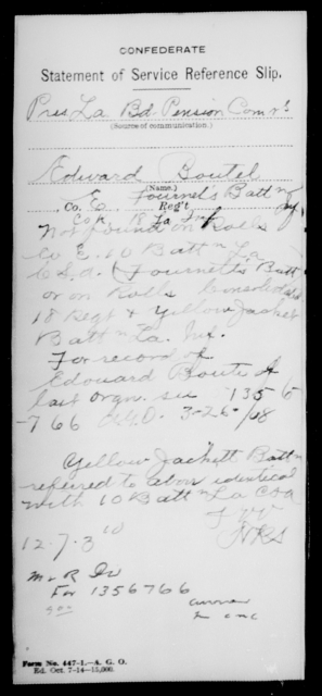 Boutel, Edward - Age [Blank], Year: [Blank] - Consolidated 18th Regiment and Yellow Jacket Battalion, AND Infantry, A - C - Louisiana