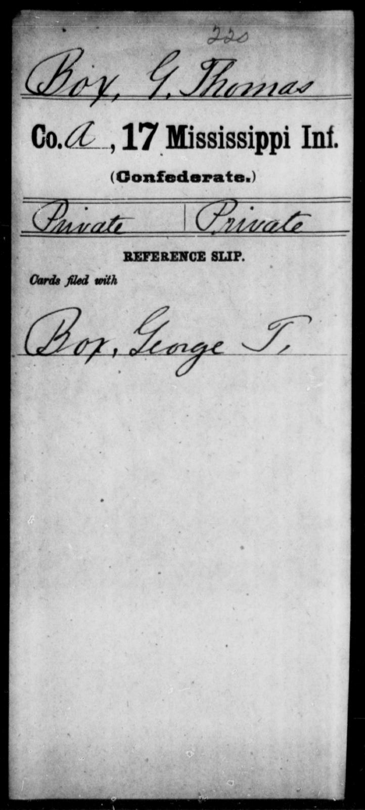 Box, G Thomas - Age: [Blank], Year: [BLANK] - Mississippi Seventeenth Infantry, Bo-Ch