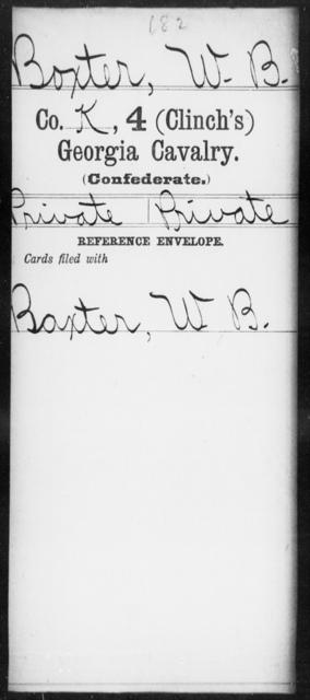Boxter, W B - 4th (Clinch's) Cavalry