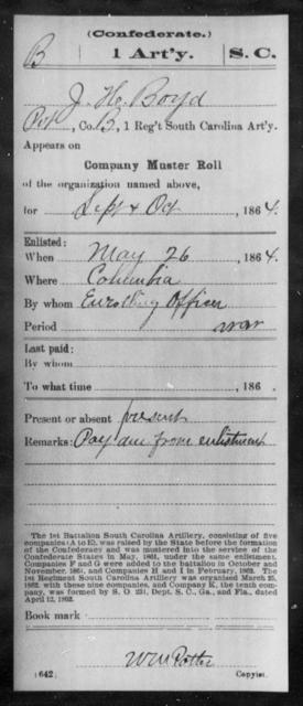 Boyd, John H - Age: [Blank], Year: 1864 - South Carolina First Artillery A-Br