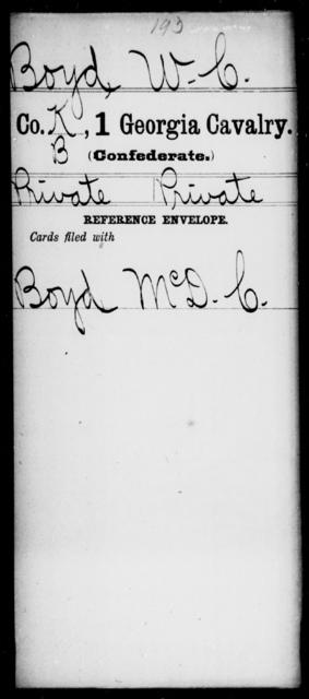 Boyd, W C - 1st Cavalry