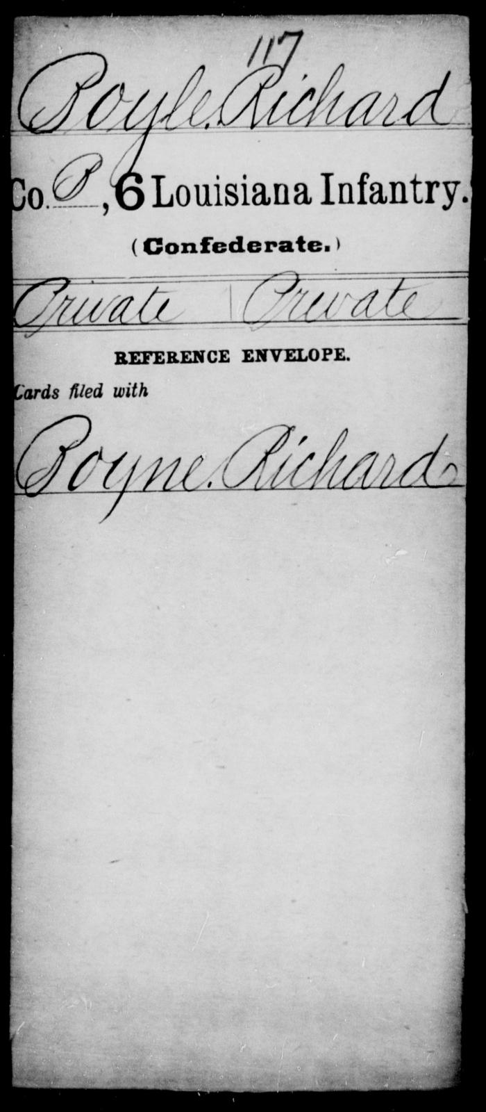 Boyle, Richard - Age [Blank], Year: [Blank] - Sixth Infantry, A - B - Louisiana