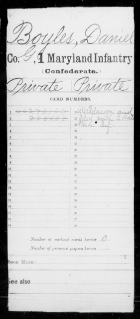 Boyles, Daniel - Age [Blank], Year: [Blank] - First Infantry, A-D - Maryland