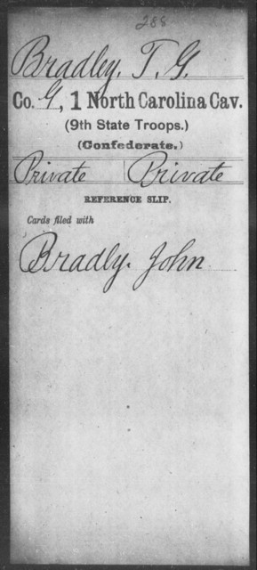 Bradley, T G - First Cavalry (Ninth State Troops)