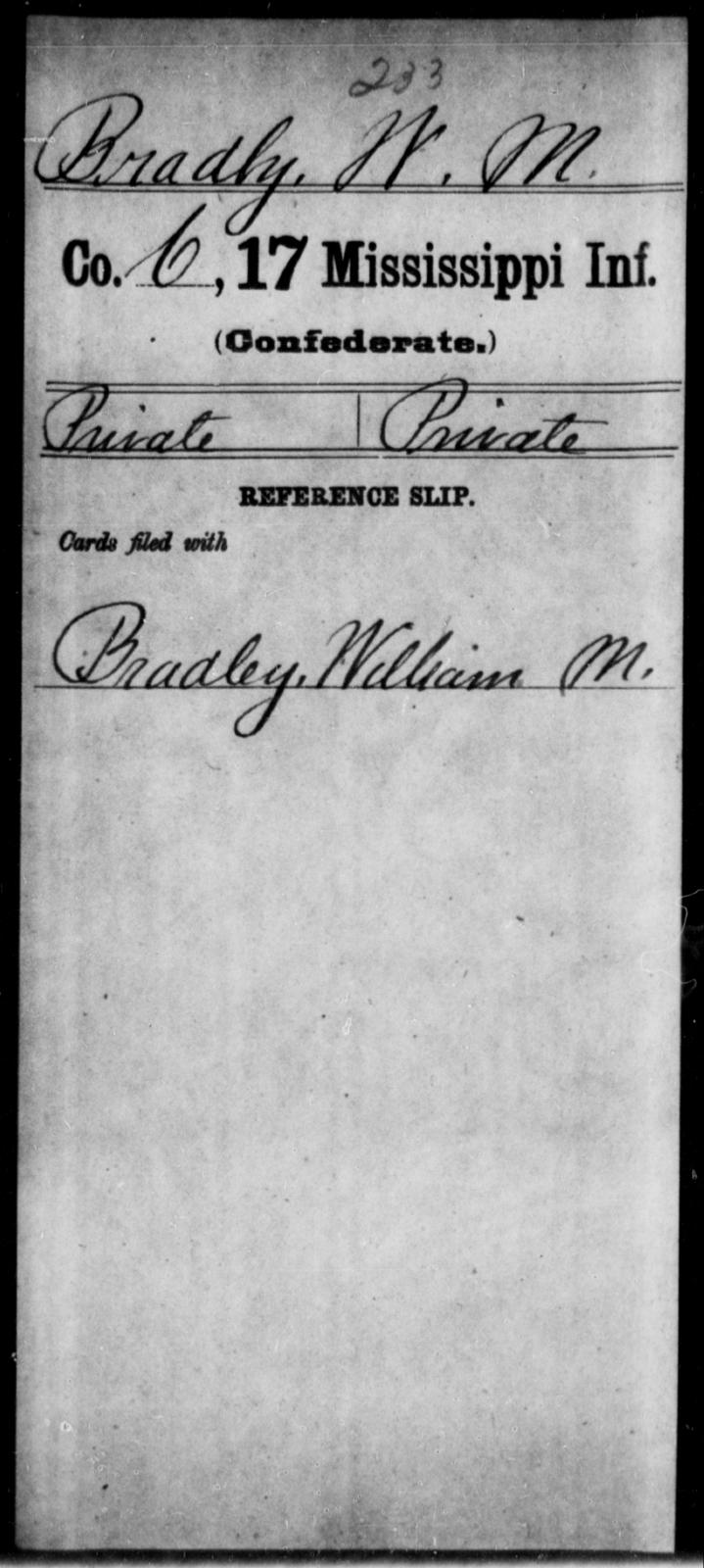 Bradly, W M - Age: [Blank], Year: [BLANK] - Mississippi Seventeenth Infantry, Bo-Ch