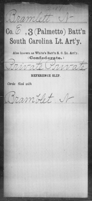Bramlett, N - Age: [Blank], Year: [BLANK] - South Carolina Third (Palmetto) Battalion, Light Artillery A-B