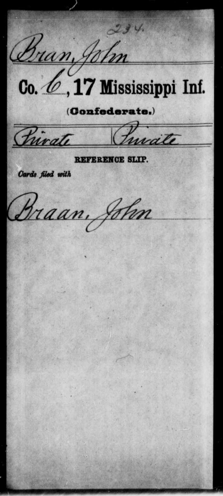 Bran, John - Age: [Blank], Year: [BLANK] - Mississippi Seventeenth Infantry, Bo-Ch
