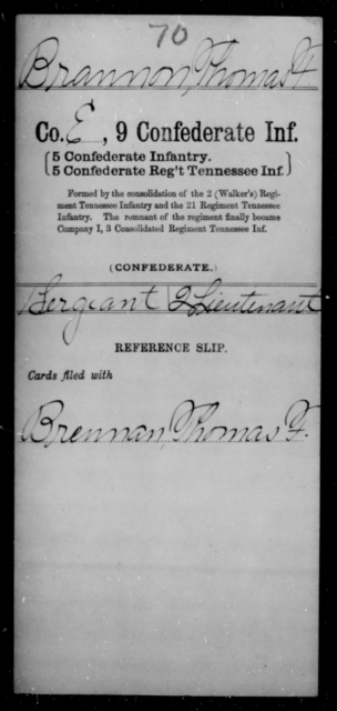 Brannon, Thomas F - Age [Blank], Year: [Blank] - Ninth Confederate Infantry, A-F - Raised Directly by the Confederate Government