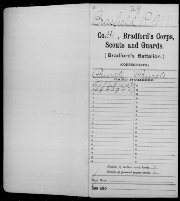 Brasfield, R M - Age [Blank], Year: 1864 - Bailey's Consolidated Regiment of Infantry AND Bradford's Corps, Scouts and Guards - Raised Directly by the Confederate Government