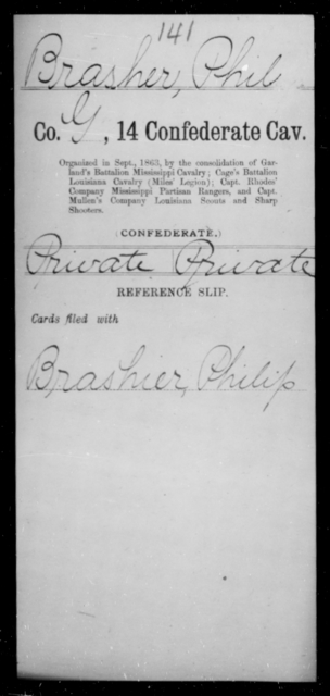 Brasher, Phil - Age [Blank], Year: [Blank] - Fourteenth Confederate Cavalry, A-K - Raised Directly by the Confederate Government