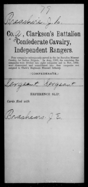 Breashire, J C - Age [Blank], Year: [Blank] - Bell's Battalion CSA AND Blake's Scouts CSA AND Burrough's Battalion, Partisan Rangers AND Clarkson's Battalion, Confederate Cavalry, Independent Rangers, A-K - Raised Directly by the Confederate Government