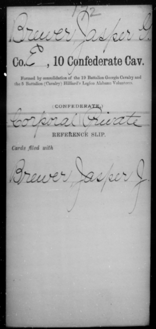 Brewer, Jasper - Age [Blank], Year: [Blank] - Tenth Confederate Cavalry, A-E - Raised Directly by the Confederate Government