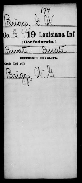 Briggs, G W - Age [Blank], Year: [Blank] - Nineteenth Infantry, A - B - Louisiana