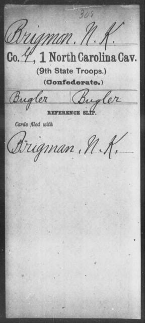 Brigmon, N K - First Cavalry (Ninth State Troops)