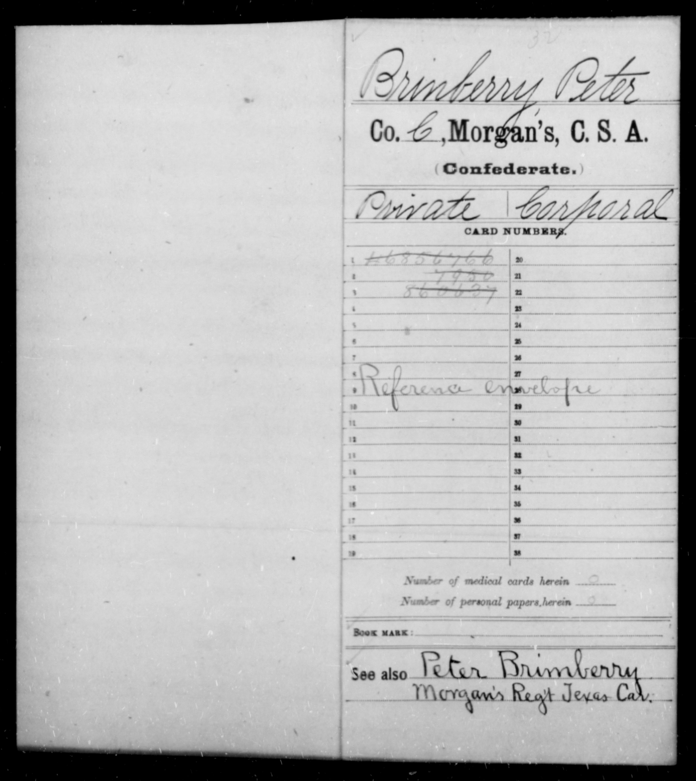 Brinberry, Peter - Age [Blank], Year: 1863 - Invalid Corps AND Officers Surnamed Morgan, CSA AND President's Guard, CSA AND Misc. Records - Raised Directly by the Confederate Government