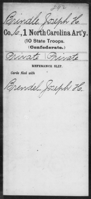 Brindle, Joseph H - First Artillery (10th State Troops)