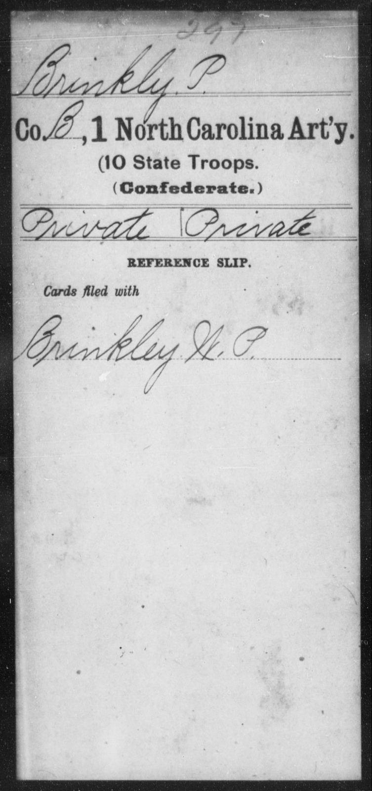 Brinkly, P - First Artillery (10th State Troops)