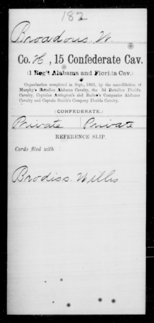 Broadous, W - Age [Blank], Year: 1863 - Fifteenth Confederate Cavalry (1st Regiment, Alabama and Florida Cavalry), A-C - Raised Directly by the Confederate Government