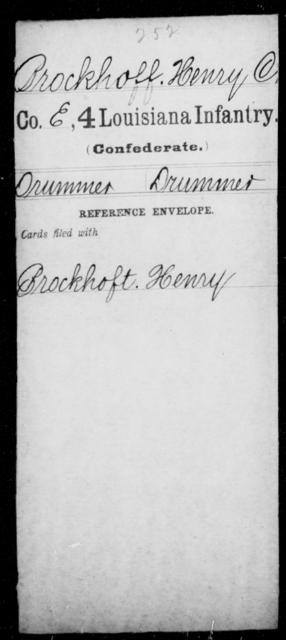 Brockhoff, Henry C - Age [Blank], Year: [Blank] - Third Regiment, First Brigade, First Division, Militia, - Louisiana