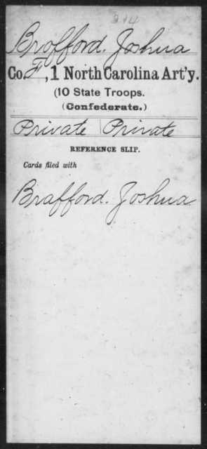Brofford, Joshua - First Artillery (10th State Troops)